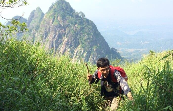 Jalur pendakian gunung bongkok yang pemandangannya tidak kalahindah dengan setelah tiba di puncak gunung