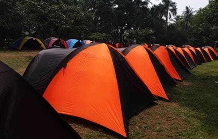 lokasi camping ground situ gintung. lokasi yang cukup luas untuk menampung 500 peserta.