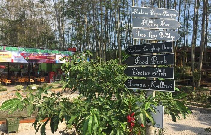 Papan petunjuk arah menerangkan lokasi daya tarik kediri eco park