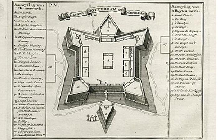 denah fort rotterdam yang sangat jelas berbentuk seperti desain penyu