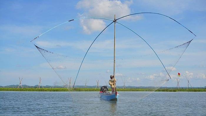 nelayan danau tempe menjala ikan di danau dengan populasi ikan terbesar di indoensia