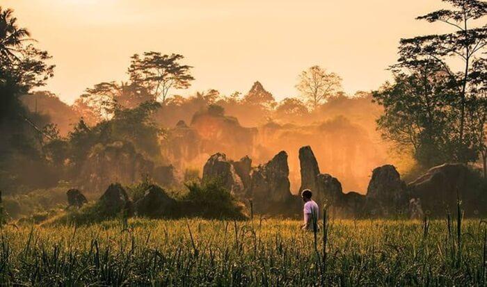 Waktu sunrise. Dengan aksen kabut, membuat waktu fajar adalah waktu tepat mengambil foto bernuasa mistis.