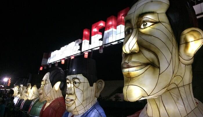 Lampion bentuk Presiden Indonesia dari semua era ada di taman pelangi jogja