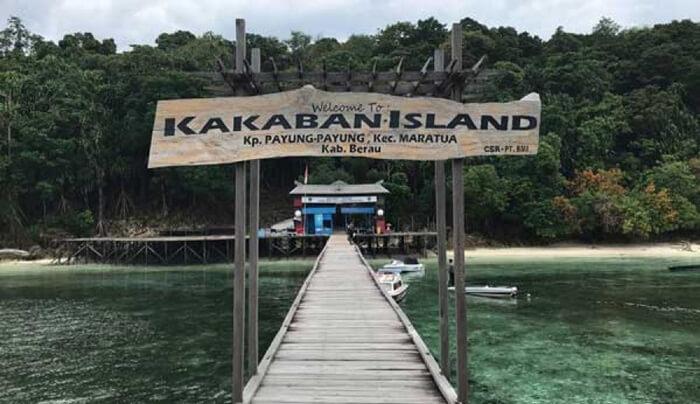 plakat selamat datang di dermaga pulau kakaban menyambut kedatangan pengunjung