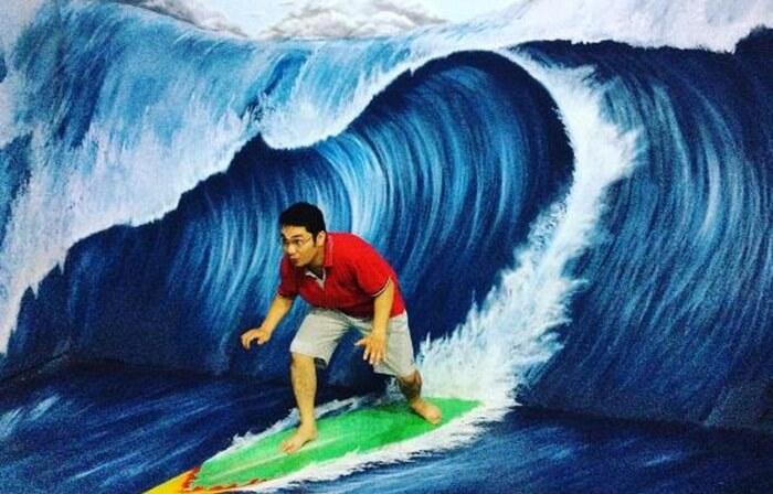 surfer indor studio foto 3D gumul paradise island