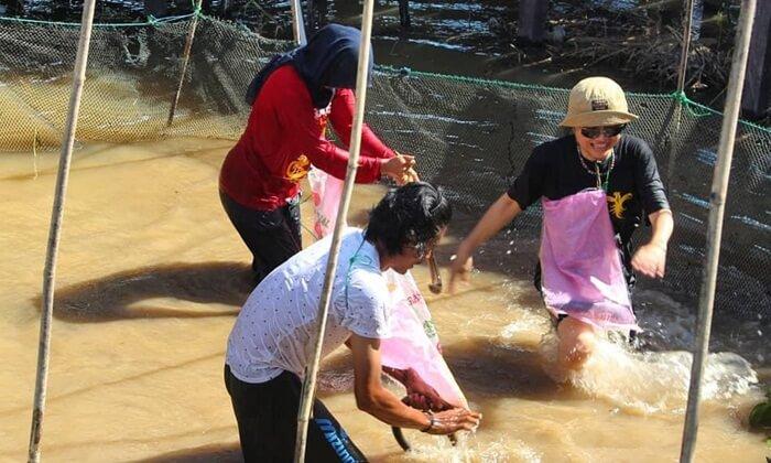 Lomba Tangkap ikan salah satu acara dalam festival perayaan mas apanen ikan di DAnau Semayang. Pengunjung yang datang diijinkan mengikuti kegiatan ini.