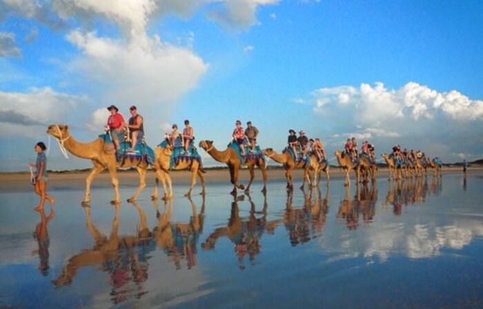Tempat wisata di Australia Cable Beach adalah pantai yang panjang dan datar, dengan ombak kecil yang bergulung, sempurna untuk berenang, berjemur, dan menyusuri pantai.