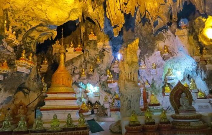 Gua tempat wisata di Myanmar ini dipenuhi patung Buddha keemasan dalam berbagai ukuran. Setidaknya ada 8.000 patung yang bisa ditemukan di altar-altar kapur Gua Pindaya.