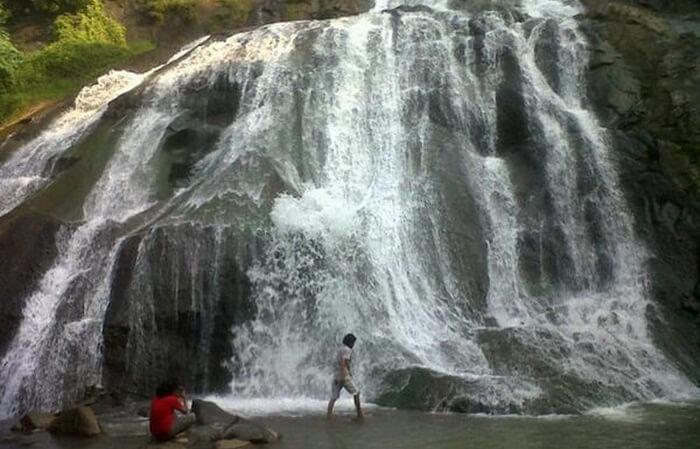 Curug tempat wisata Tegal setinggi lebih dari 20 meter ini terbagi menjadi dua tingkat air terjun.