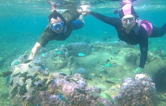 Snorkeling di pulau samalona terasa menyenangkan karena air yang jernih