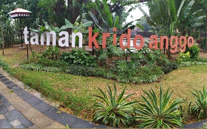 Di taman tempat wisata Sragen ini terdapat beberapa komunitas anak muda yang meramaikan taman Krido Anggo