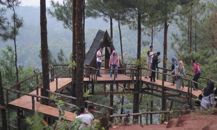rumah pohon di wisata pabangbon didesain melingkar seperti canopy bridge ukuran kecil