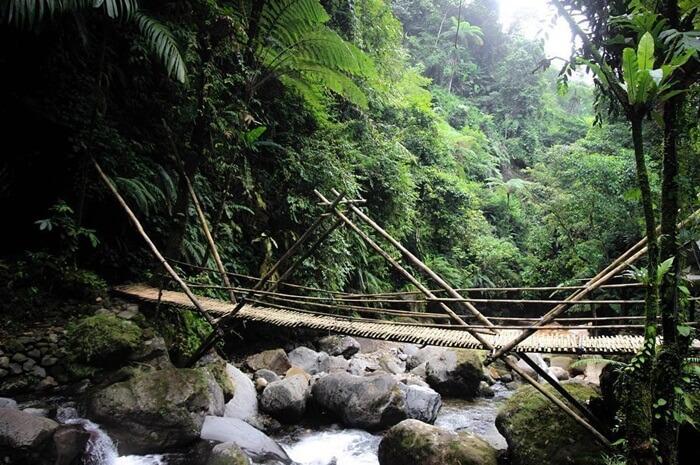Jembatan tradisional sebagai salah sau lontasan untuk menuju curug muara bogor.
