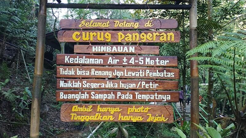 Papan Keterangan Lokasi Wisata Curug Pangeran
