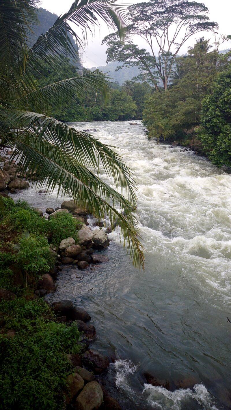 derasnya aliran sungai di sekitar air terjun sigura gura