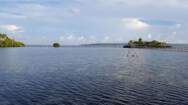 jembatan kayu penghubung antar pulau